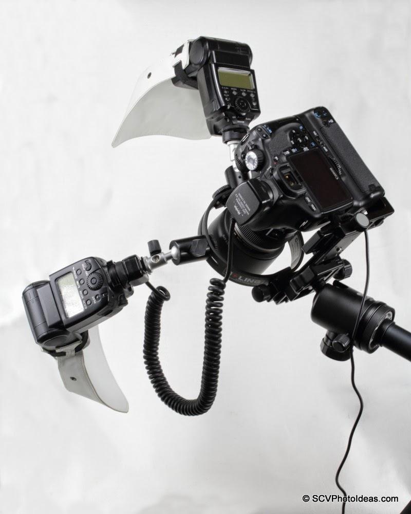 Full feature macro flash bracket w/ 2 speedlites on Canon camera