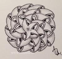 Zentangle-Muster. Tangle: Schnucki-bee-doo, Designer: Beate Winkler, CZT