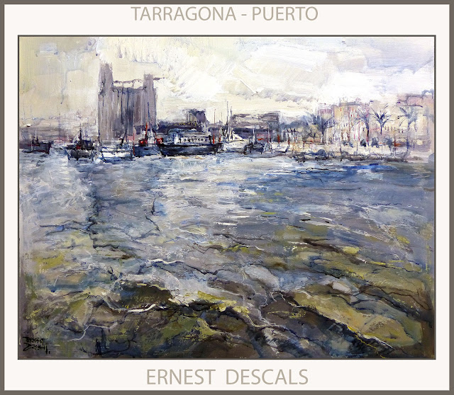 TARRAGONA-PINTURA-PUERTO-PORT-SERRALLO-PINTURES-PAISATGES-CATALUNYA-PINTOR-ERNEST DESCALS-