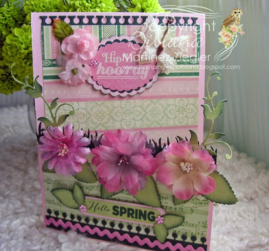 front hello spring half gatefold card with petaloo