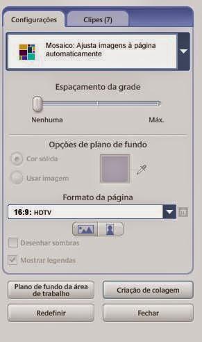 configurações do painel de fotos