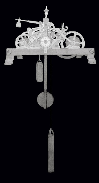 maquinaria reloj, con los contrapesos, campanario, dibujo