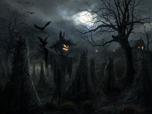 Halloween Wallpaper - Moon, Pumpkins and Witch high-quality-halloween-collection