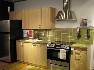 ikea kitchens compact single wall kitchen with green tile backsplash