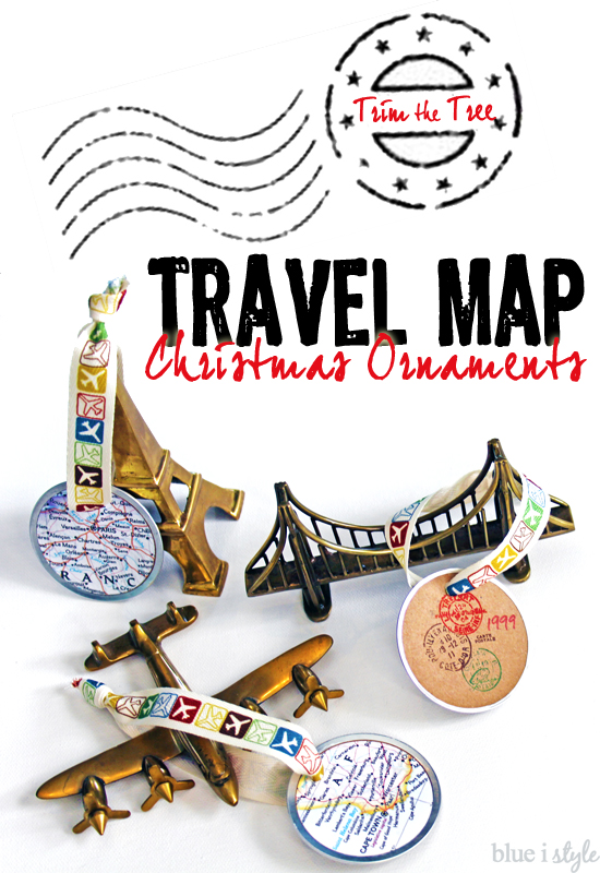seaonal Style Travel Map Christmas Ornaments More Than