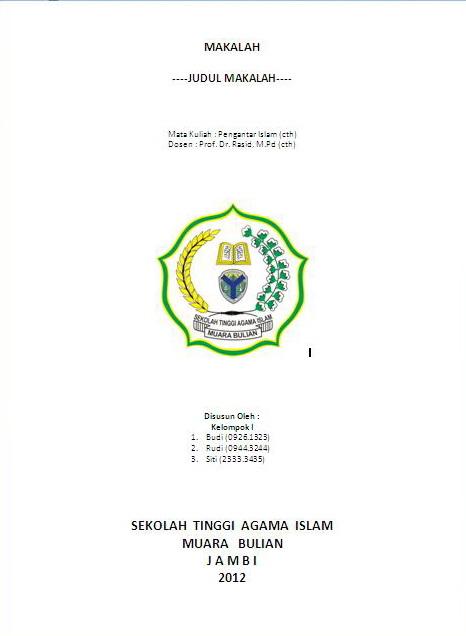 Contoh Cover Makalah Mahasiswa STAI Muara Bulian