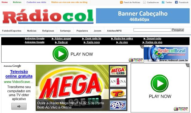 Banner 468x90 - Cabeçalho do site Rádiocol