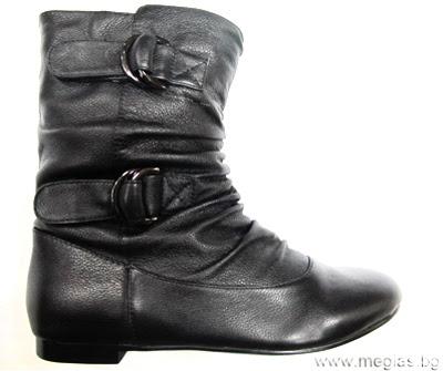 черни ботуши с катарами от естествена кожа