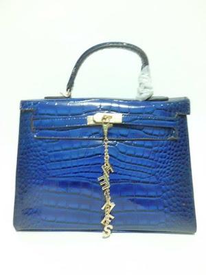 tas wanita terbaru, impor, import, tas branded Kelly Croco, Tas Kelly Croco warna biru, image