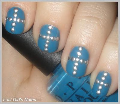 metal cross stud rhinestones manicure
