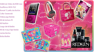 premios walkman video de 8gb rosa, Audifonos, boxset 15 peliculas de Barbie, Collar Swarovski, videojuego Barbie, Kit de belleza, kit redKen, juego de te barbie, kit de maquillaje barbie, lentes barbie, bolsa barbie promocion Barbie el secreto de las hadas Mexico 2011
