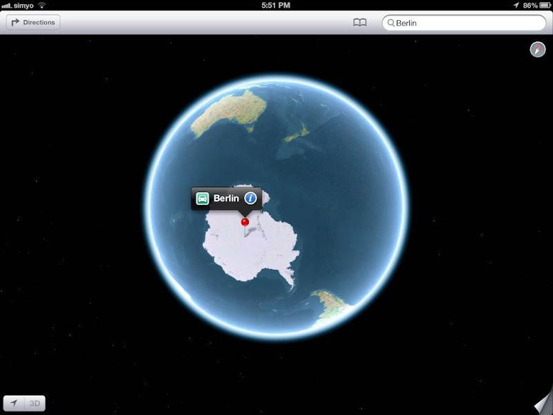 Nouvelle localisation de Berlin en Antarctique