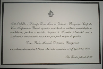 a letter of the head of the House of Brazil on the tragic event of the aircraft crash of June 2009
