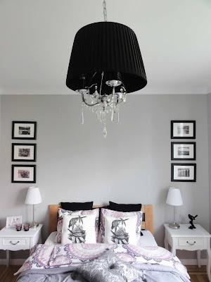 szara sypialnia styl glamour