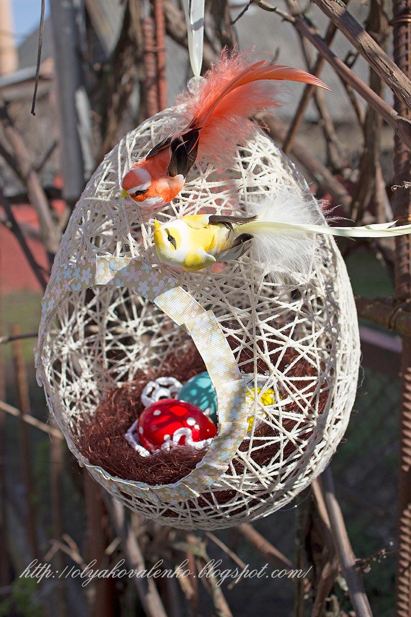 Гнездо с яйцами своими руками