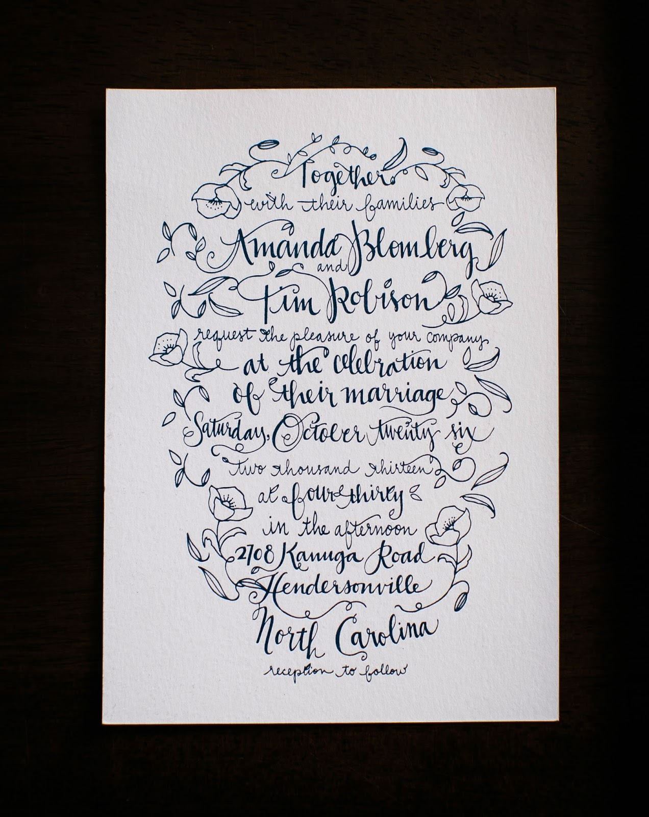 An Open Sketch Book Hand Lettered Wedding Invitations