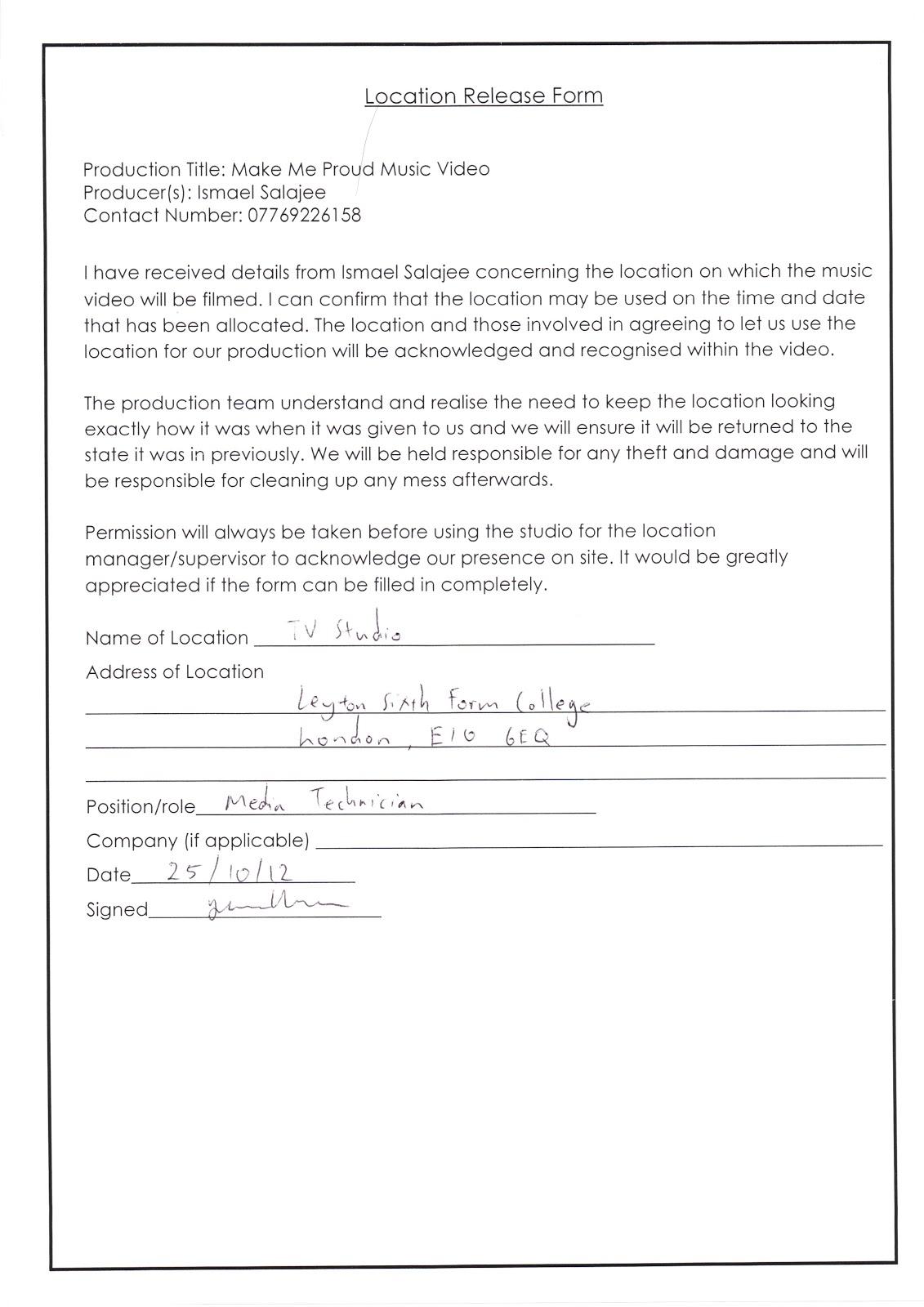 Location Release Form | Location Release Form Updated Ismael S Blog