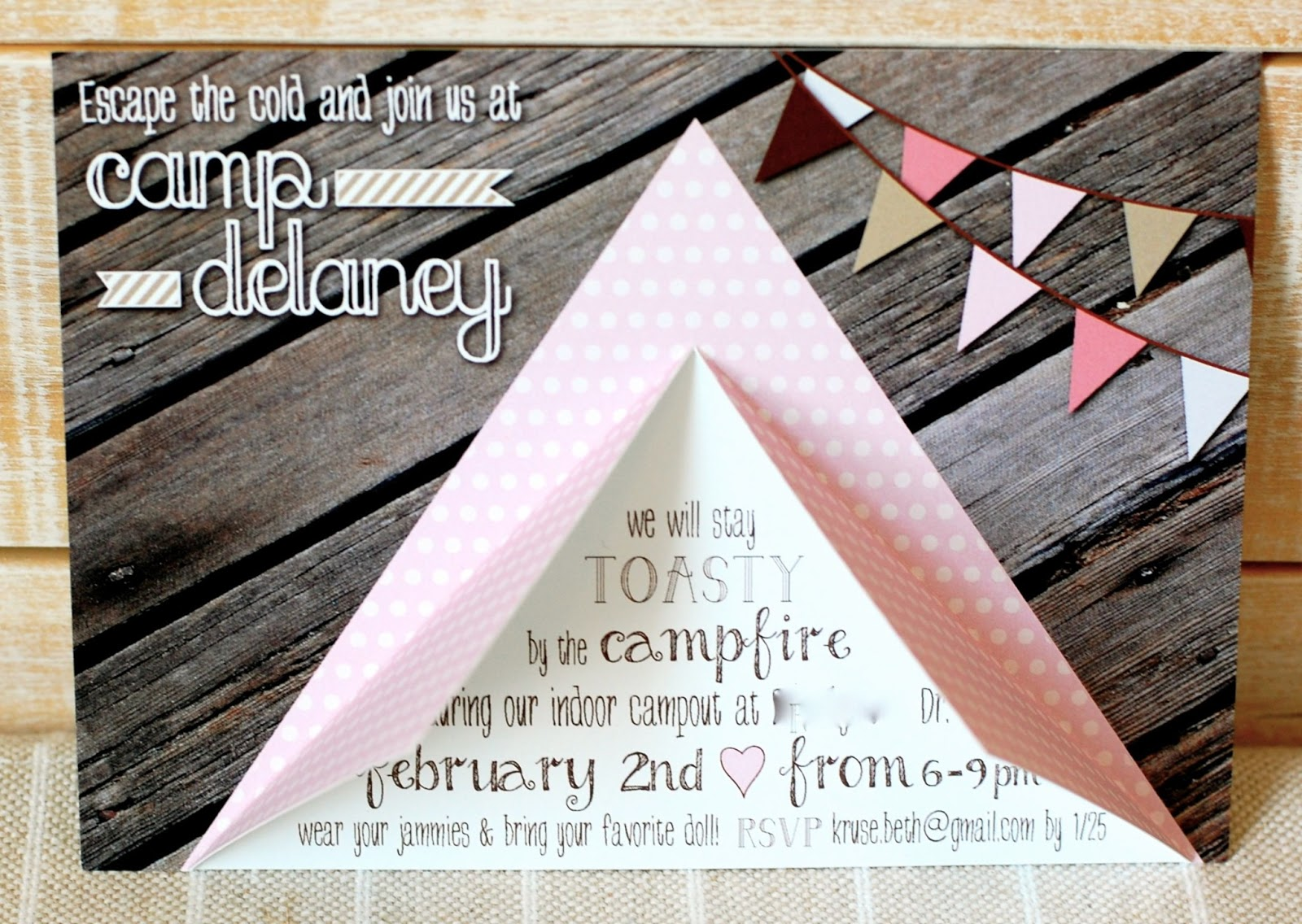How To Make A Tent Beth Kruse Custom Creations Camping Party Invite