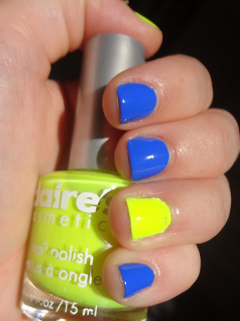 Pacific Blue w/ a pop of neon yellow accent nail