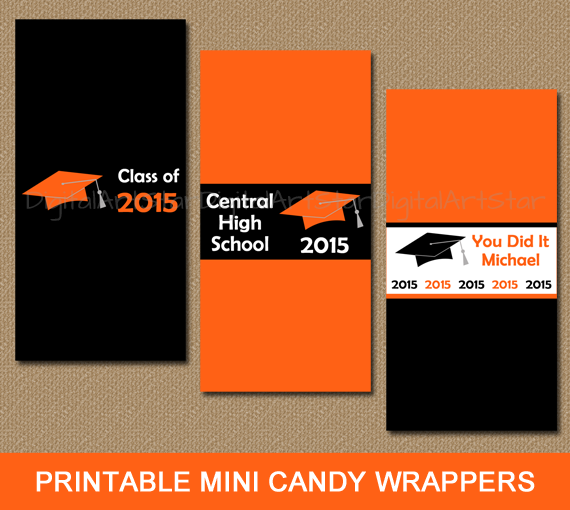 Personalized graduation candy wrappers to use as party favors in orange and black