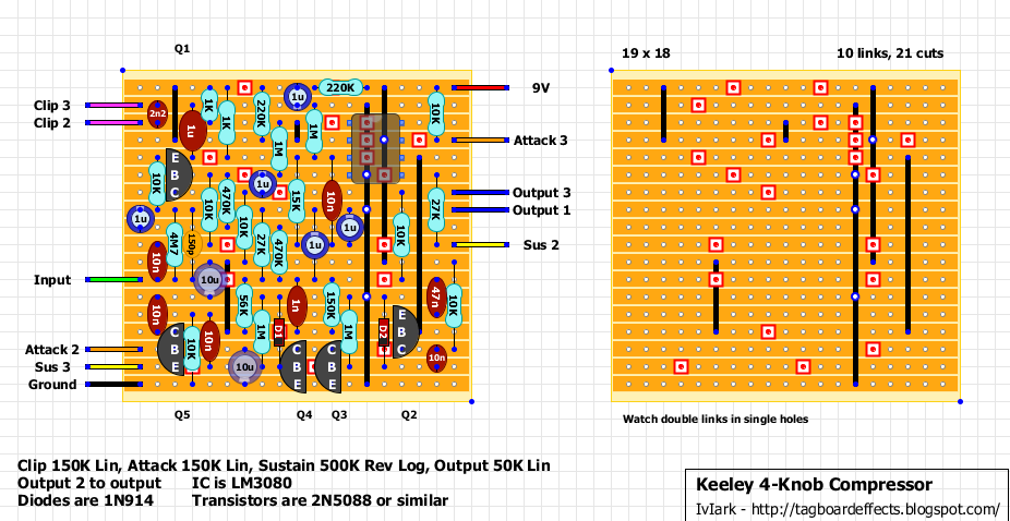 guitar fx layouts keeley 4 knob compressor bom