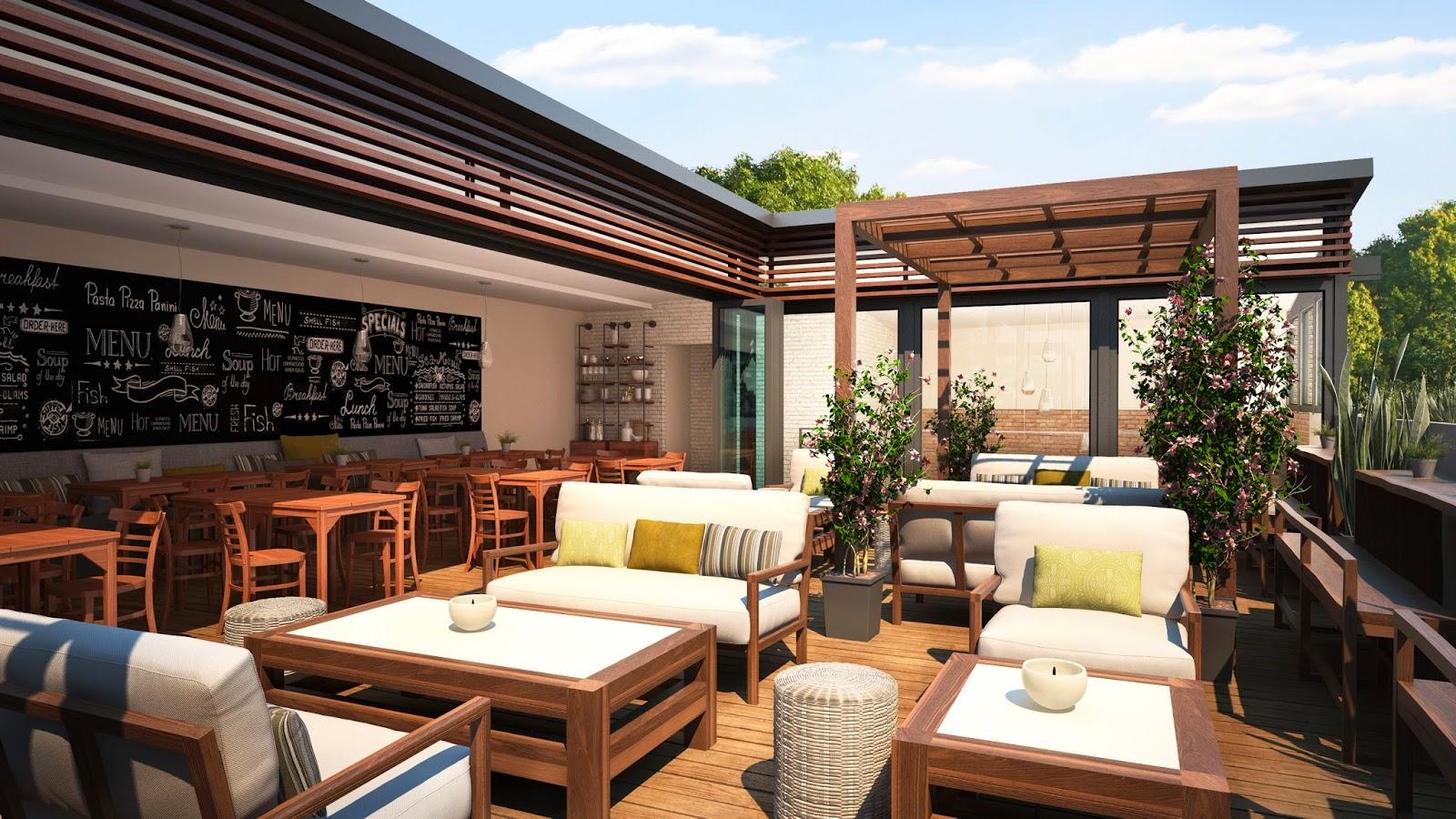Renders arquitectura renders exteriores for Nebulizadores para terrazas de bares