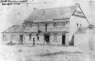 The North Brisbane Hotel was situated on the west side of Queen Street, between Edward and Albert Streets. It was destroyed by fire in April 1864. (Sketch held in State Library of Queensland)