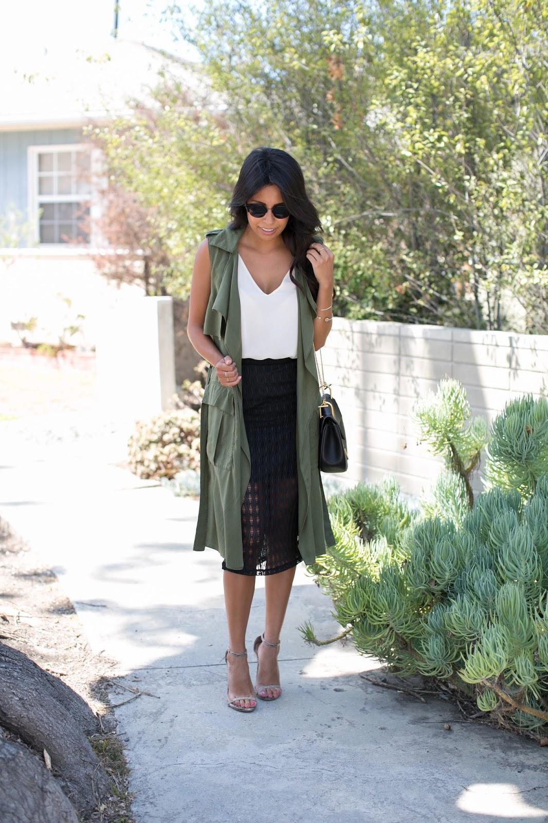 how to wear long vest, pursuit of shoes, chloe bag