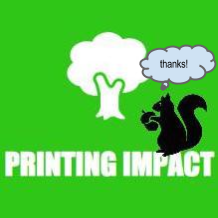 Printing Impact words with tree and squirrel saying thanks!