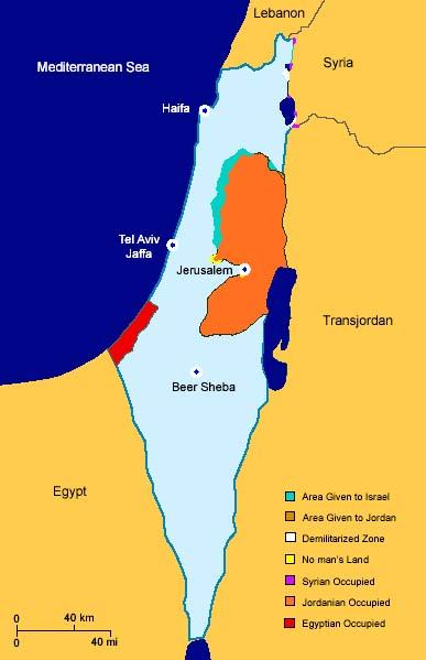 mapa israel y palestina