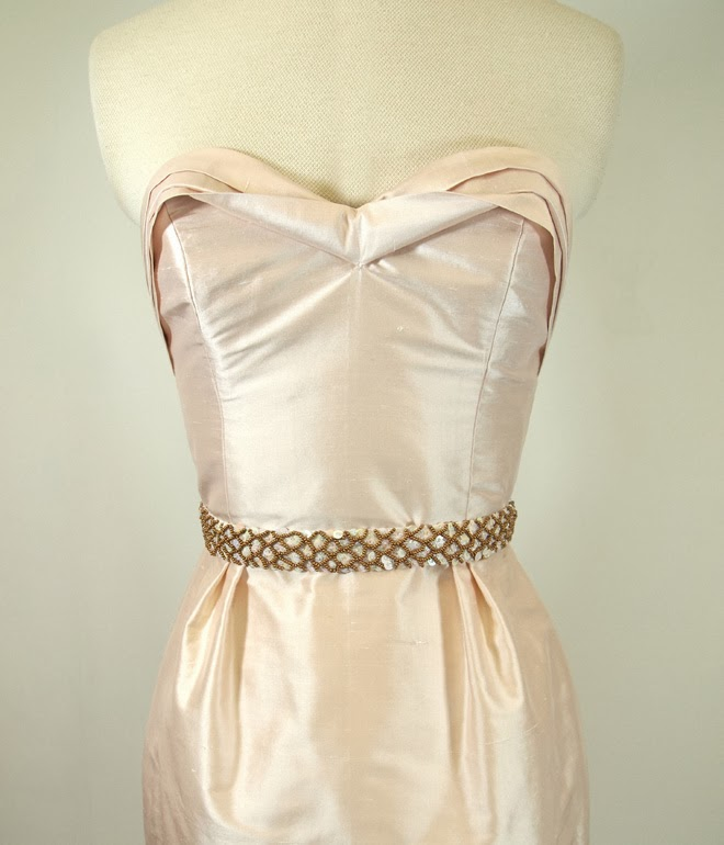 pale pink silk cocktail dress