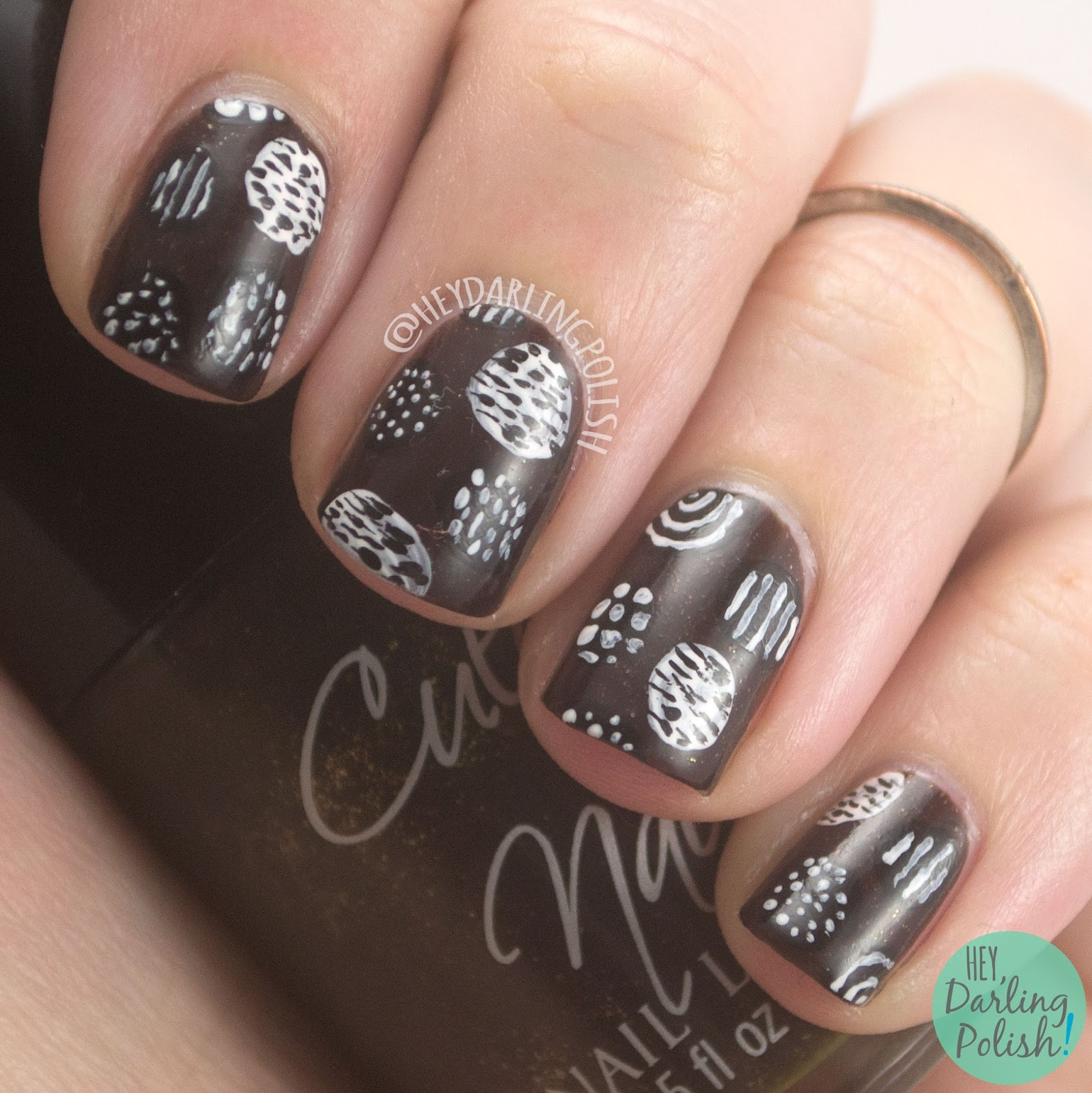 nails, nail art, nail polish, dots, brown, black, white, pattern, hey darling polish, the nail challenge collaborative,