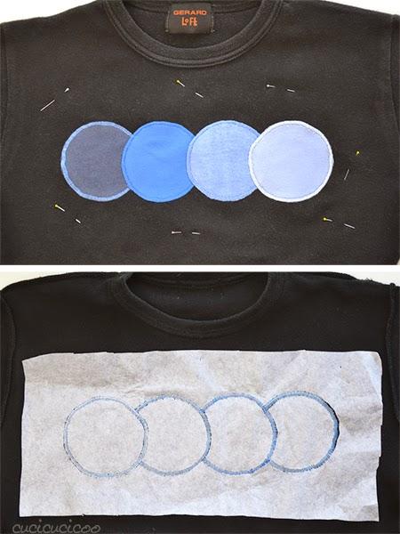 Cover ugly logos with appliqué circles. Perfect applique on t-shirts with tear-away stabilizer. | Cucicucicoo for Refashion Co-op