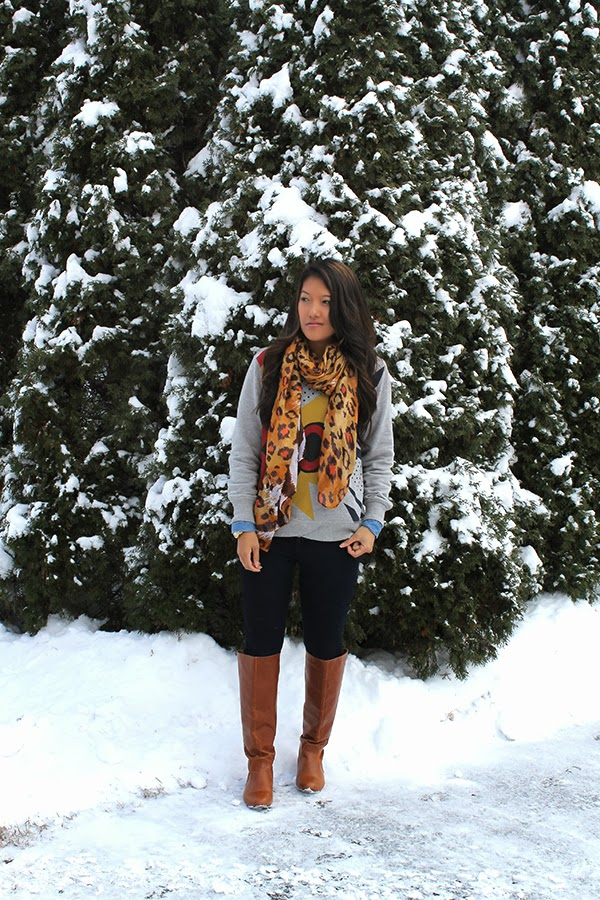 style by lynsee, fashion blogger, what to wear, winter, fall, holidays, christmas, new years, zara scarf, zara, dl 1961 denim jeans, dl 1961 denim, phillip lim 31, phillip lim, target, forever 21, forever 21 denim shirt, dark jeans, tall boots, knee high boots, style, outfit of the day