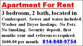Apartment For Rent-Coudersport