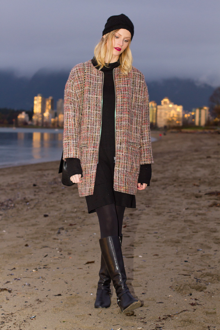 Vancouver Fashion Blogger, Alison Hutchinson, wearing Topshop boxy tweed coat, black sweater dress, Urban Outfitters Toque Beenie, Zara black leather bag, Via Spiga black leather riding boots