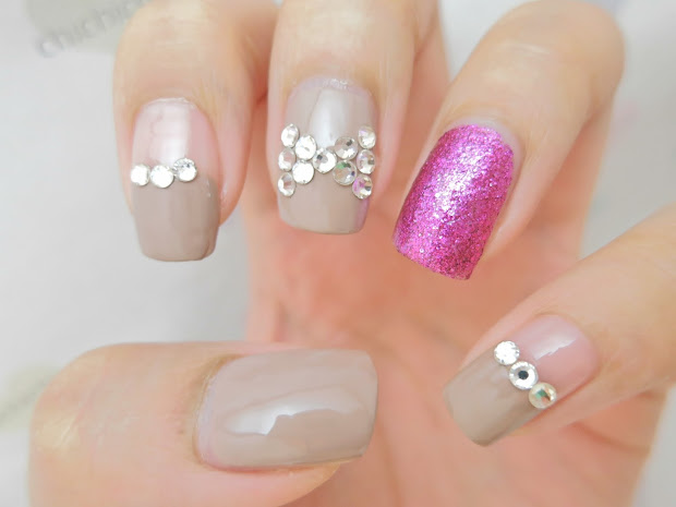pink bling nail art - chichicho