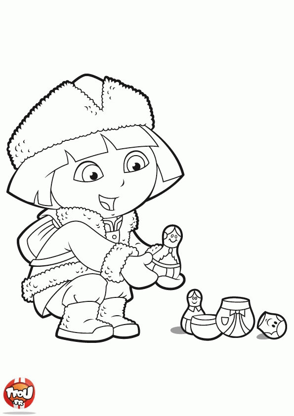 Dora beach pages coloring pages for Dora mermaid coloring pages