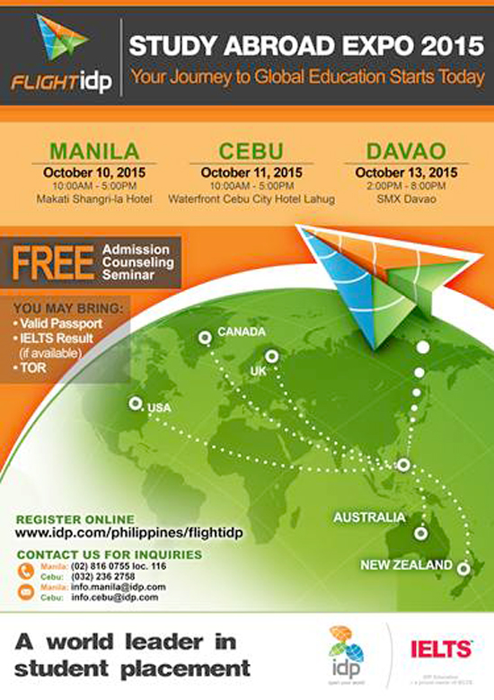 IDP STUDY ABROAD EXPO 2015 COMING TO DAVAO THIS OCTOBER 13