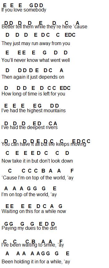 Song lyrics take a load off