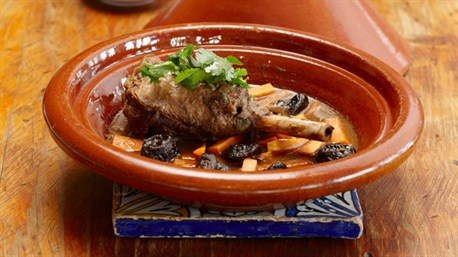Lamb Shank Tagine With Prunes And Carrots, Served With Steamed Couscous Recipe