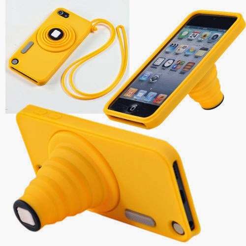 Cute Camera Rubber Back Case Cover Skin +Strap for Apple ipod touch 5 5th Gen