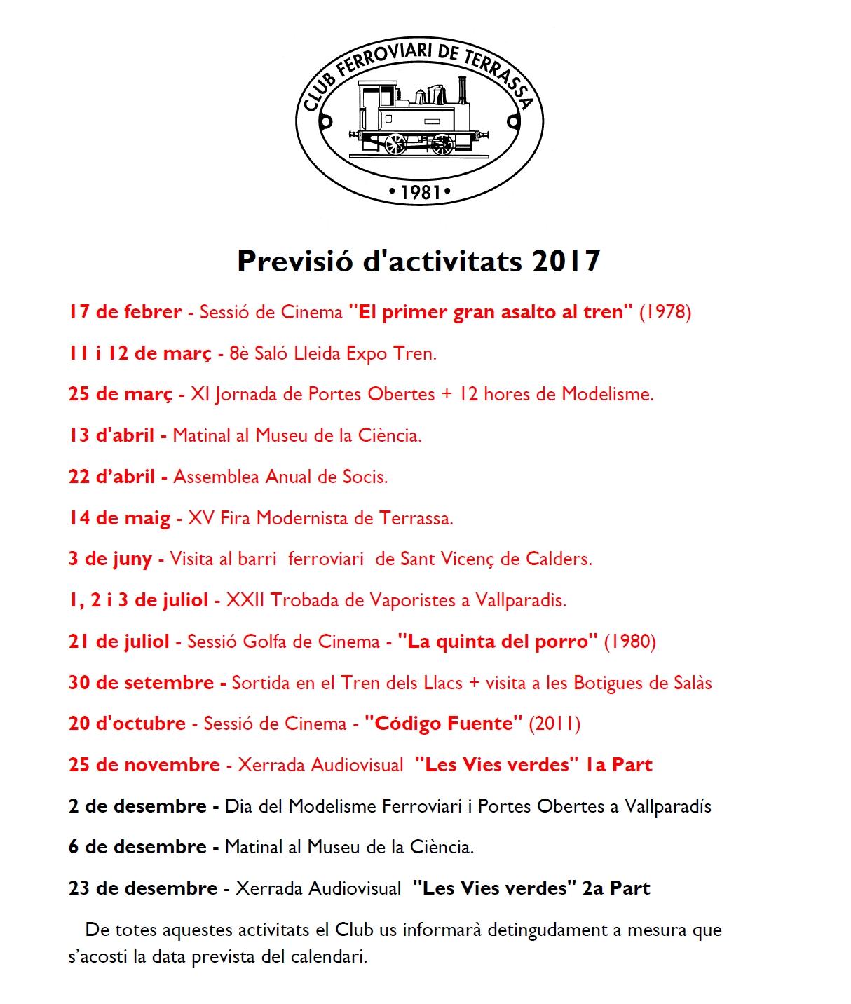 Actualització de la Previsió d'Activitats del Club Ferroviari de Terrassa. 26-NOV-2017