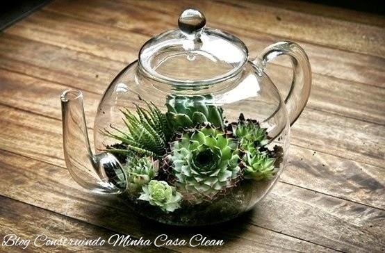 mini jardins no vidro:Construindo Minha Casa Clean: 50 Terrários Criativos para Decorar sua