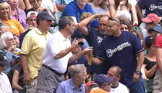 Brewers fan loses beer, broadcasters buy him another