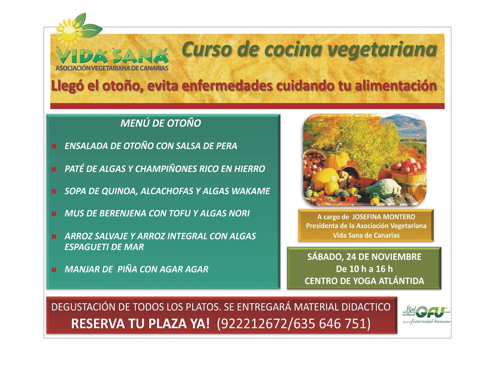 Asociaci n vegetariana vida sana de canarias - Curso de cocina vegetariana ...