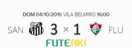 O placar de Santos 3x1 Fluminense pela 29ª rodada do Brasileirão 2015