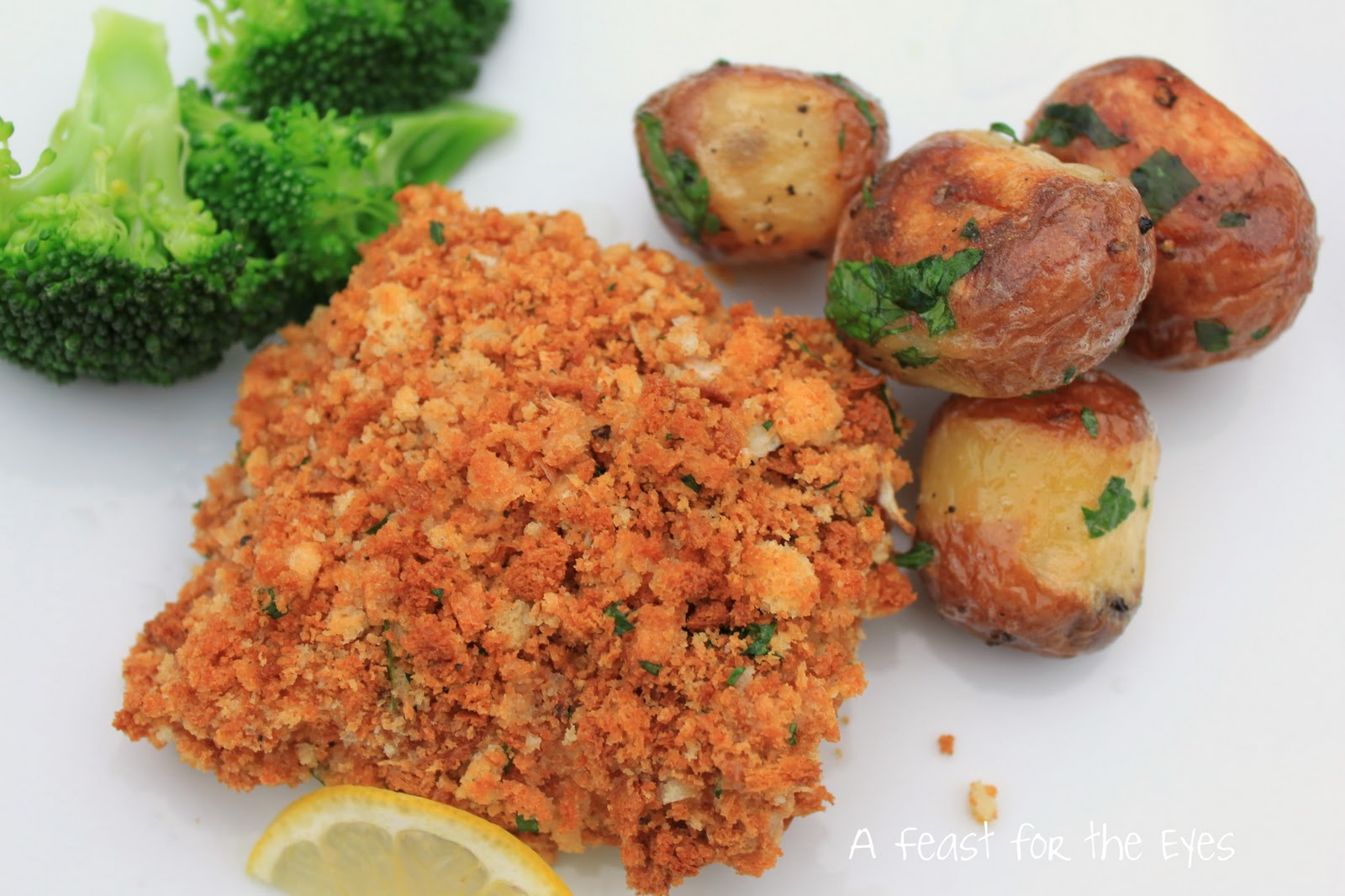 A feast for the eyes crunchy oven fried fish for Crispy baked whiting fish recipes