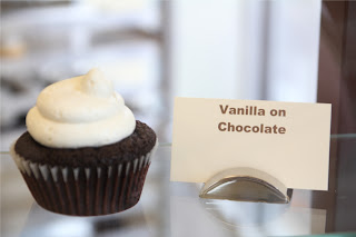 Vanilla on Chocolate Cupcake