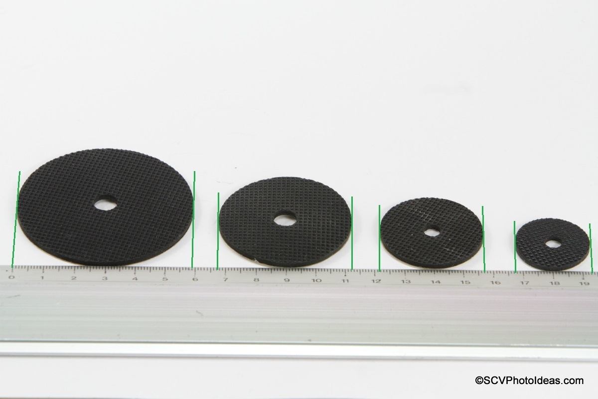 Desmond Stick-on Rubber Washers on metric scale